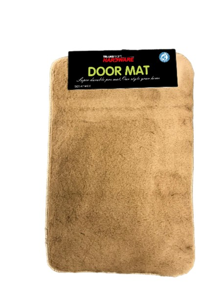 Soft doormat with furry surface. Leather look alike. Made from microfiber + TPR Size 40x60, Thickness 12MM,  Anti-slip Available in 2 colors brown and coffee. Suitable for indoors use to complete the aesthetics of family room or bedroom.