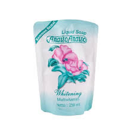 Anaiso Liquid Soap Whitening Pouch dengan kandungan zat aktif yang berfungsi sebagai pencerah dan dapat menjadikan warna kulit lebih cerah. Diperkaya dengan vitamin yang memberikan nutrisi untuk menjaga kelembapan kulit dan parfum untuk kesegaran sepanjan