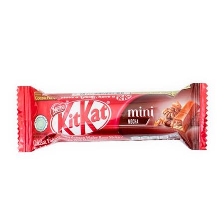 KitKat Mini Wafer In Milk Chocolate With Mocha Cream . Kitkat / Kit Kat adalah wafer berbalut coklat dan susu yg sangat terkenal di dunia sejak awal abad 20. Distribusi global oleh Nestle membuat brand ini sangat melegenda. Dengan resep lisensi yg paten d