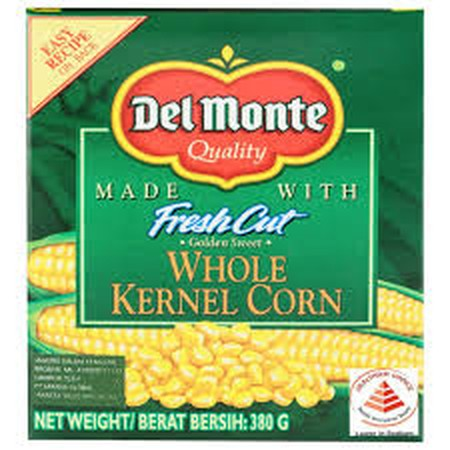 Del Monte Whole Kernel Corn . Ingredients : Corn, Water, Sugar, Salt