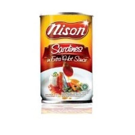 Sarden Nison Extra Pedas 155gr. Sarden siap saji dengan tambahan saus tomat ekstra pedas. Rasanya yang enak dan juga mengandung sumber asam omega-3.