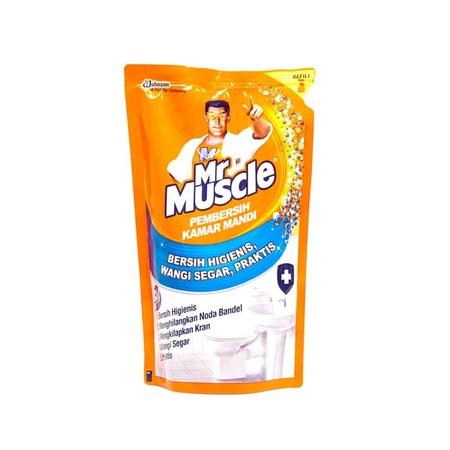 Mr. Muscle 5 In 1 Pembersih Kamar Mandi [500 Ml/ Pouch] Merupakan Cairan Aktif Pembersih Yang Secara Efektif Dapat Membersihkan Noda Pada Kloset, Membasmi Kuman & Bau Pada Toilet, Menjaga Warna Asli Porselen Karena Mengandung Bahan Bermutu Tinggi, Serta M