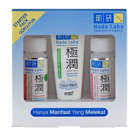 Hada Labo Gokujyun Starter Pack merupakan rangkaian perawatan yang mempunyai kandungan 3 tipe Hyaluronic Acid, yang akan memberikan kelembapan kulit secara optimal, kulit menjadi lebih halus, lembut dan tetap elastis.