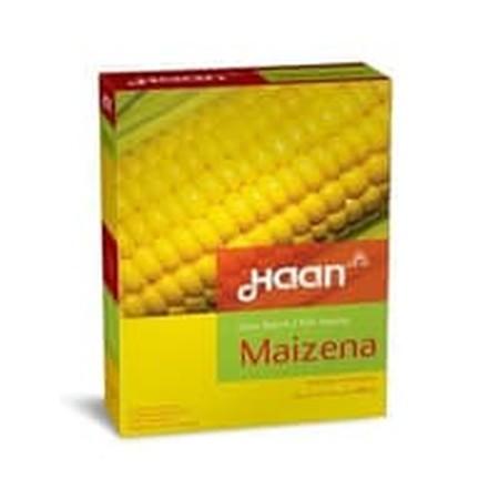 Haan Maizena Tepung jagung berkualitas yang berfungsi sebagai bahan pengental untuk masakan, soup, vla dan campuran pembuat pudding, kue, pie dan lain-lain.