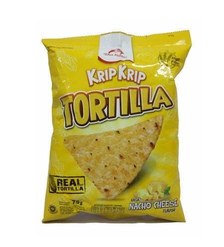 Krip Krip Tortilla 75g Rasa Nacho Cheese. Krip Krip Tortilla Chips adalah snack jagung khas Mexico yang dibuat dari jagung asli bermutu, diproses dengan teknologi tinggi serta menghasilkan kelezatan rasa istimewa yang dapat dinikmati bersama keluarga dan