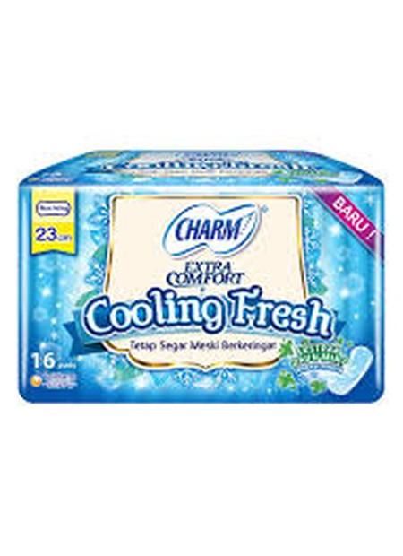 Charm Cooling Fresh Non Wing merupakan pembalut wanita dengan porsi serap extra, Serap cairan lebih sempurna, cepat dan takkan bocor meski sedang banyak-banyaknya. Nyaman untuk digunakan dan dengan ekstrak daun mint.