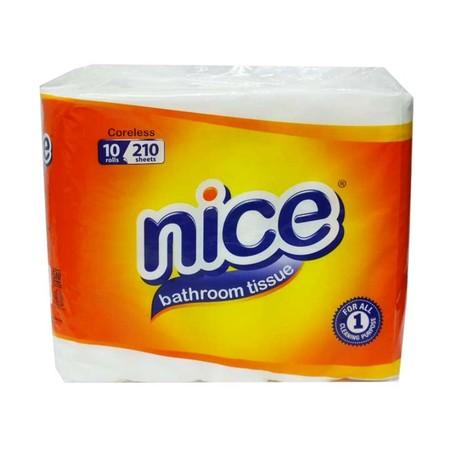Nice Toilet Coreless Emboss [10 Rolls/210'S] Merupakan Tissue Yang Memiliki Daya Serap Tinggi, Didesain Halus Dan Lembut Serta Tidak Menimbulkan Iritasi Pada Kulit. Ideal Digunakan Untuk Di Rumah, Dikantor, Serta Pada Saat Berpergian.