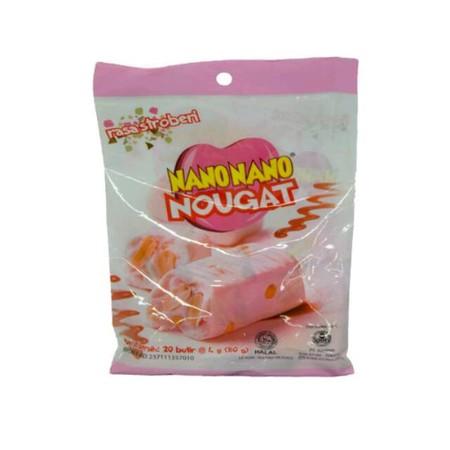Kembang gula / permen empuk (soft candy) rasa Stroberi dengan campuran kacang dan susu yang pas.