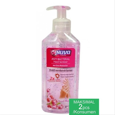Nuvo hand sanitizer contains 60% Alcohol and Triclosan that effectively kills 99.9% germs, has a high level of moisturizer that protects the skin from drying, and has a light and fresh fragrance.