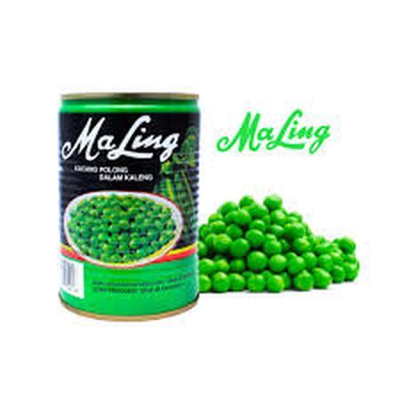 Kacang polong kaleng (green peas) Kacang polong kaleng dapat digunakan untuk berbagai macam masakan seperti fu yun hai, cap jay, nasi goreng dan berbagai macam masakan yang lain. Kacang polong kaleng merk Ma-ling merupakan kacang polong yang sangat berkua