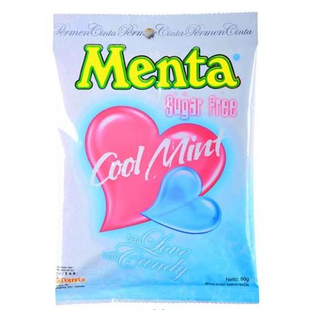 Berat bersih 60Gr. Permen cinta rasa cool mint berbentuk love yang bebas gula.