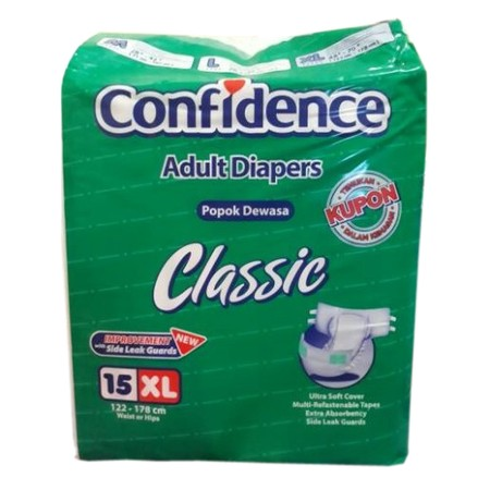 Confidence Adult Classic Day Xl 15'S  Confidence Adult Diaper Classic Is Diaper For Adult Priority Which Have High Mobility Or Wear During Traveling.  Detail: -Ultra Soft Cover: Extra Soft & Extra Dry Surface -Extra Absorbency: Absorb Liquid Faster And Tu