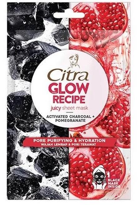 Citra Glow Recipe Juicy Sheet Mask yang mengandung activated charcoal dan pomegranate, dengan activated charcoal yang terkenal untuk membersihkan dan mengecilkan pori, dan pomegranate yang kaya akan vitamin C untuk membantu menyamarkan noda. Untuk wajah l