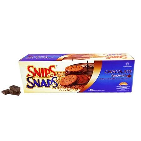 biskuit sandwich dengan tekstur renyah ditambah kualitas rasa coklat premium. Hadirkan selalu snips snapns sandiwch chocolate di setiap acara anda untuk mencairkan suasana.