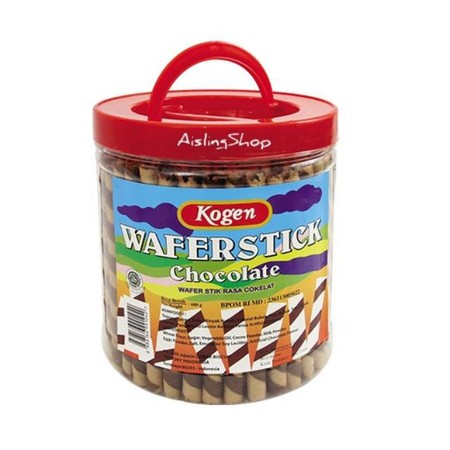 Kogen Wafer Stick Stples 600g. Wafer berbentuk stik dengan kulit yang garing dan isian coklat yang nikmat. Cemilan favorit di saat reha