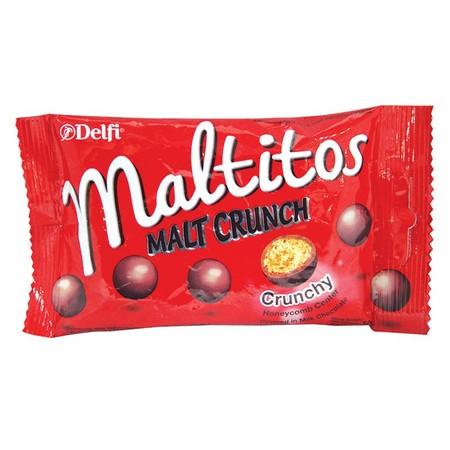 Delfi Maltitos Malt Crunch 45g merupakan produk cokelat Delfi Indonesia yang dipersembahkan untuk menemani kamu yang senang menikmati cokelat di sela waktu bekerja atau waktu luang. Cokelat Delfi ini berbeda dengan cokelat Delfi lainnya. Delfi Chocolate M