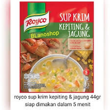Royco Sup Krim Kepiting Dan Jagung Dengan Bahan Dari Alam Yang Mengandung Bulir Jagung Dan Daging Kepiting Untuk Hidangan Sup Krim Hangat Yang Lezat Tanpa Pengawet Dan Pewarna Sintetis.