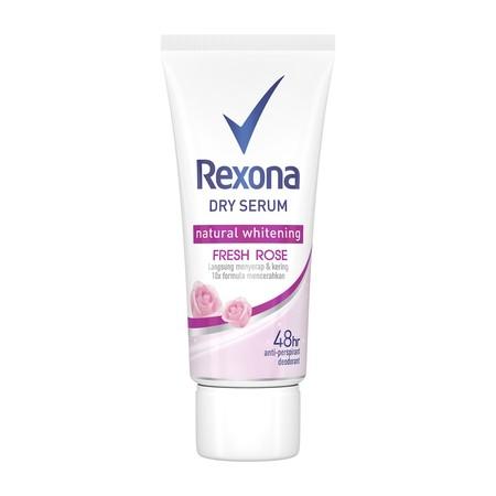 Rexona Dry Serum Natural Whitening Fresh Rose mengandung pencerah alami yang teruji mencerahkan ketiak dengan keharuman mawar yang menyegarkan. Deodorant serum untuk perawatan kulit ketiak yang mengandung 10x lebih banyak bahan pencerah alami untuk memban