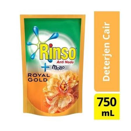 Rinso Molto Deterjen Cair Royal Gold Kini hadir dengan teknologi SmartFoam, busa lebih cepat hilang saat membilas, menghemat hingga setengah air bilasan. Dengan formulasi anti noda, cepat menghilangkan noda membandel hanya dengan 1X kucek! Memberikan keha