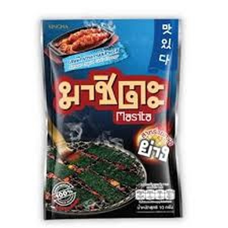 Singha Masita Korean Squid Chili Flavoured Grilled Seaweed Snack is made with100% Korean seaweed. This product is free from preservatives, and retails in a 20g pack.