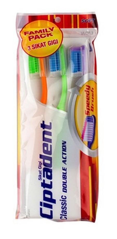 Ciptadent Classic Double Action Sikat Gigi merupakan sikat gigi dengan bulu sikat yang lembut dan dapat membersihkan sela-sela gigi dengan baik serta mempunyai gagang sikat yang panjang & kuat.