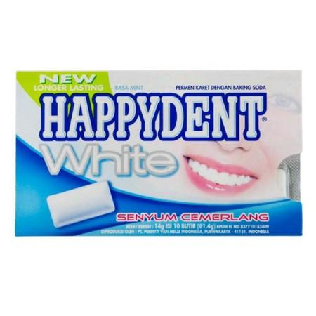 HAPPYDENT White merupakan permen karet dengan kandungan bahan istimewa yang mampu membuat gigi putih cemerlang sekaligus memberikan sensasi dingin dan menyegarkan di mulut. Mengandung Baking Soda yang dapat membantu menjaga gigi tetap putih, serta formula