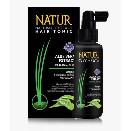 Natur Aloevera Hair Tonic, hair tonic daily treatment untuk menutrisi dan menjaga kesuburan rambut. Natur Hair Tonic Aloevera mengandung bahan alami Aloe Vera Extract yang memberikan nutrisi pada rambut, Hair Nutritive Treatment untuk menutrisi & menjaga