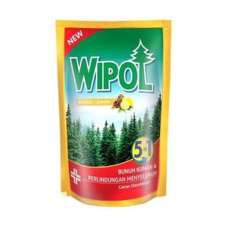 Wipol Karbol Wangi Lemon Pine Pouch 800 Ml. Merupakan Cairan Pembersih Lantai Dengan Formulasi Khusus Yang Efektif Membunuh Kuman Serta Memberikan Keharuman Khas Paduan Wangi Lemon & Pine, Dan Dapat Menjadikan Ruangan Rumah Anda Bersih, Bebas Kuman & Haru