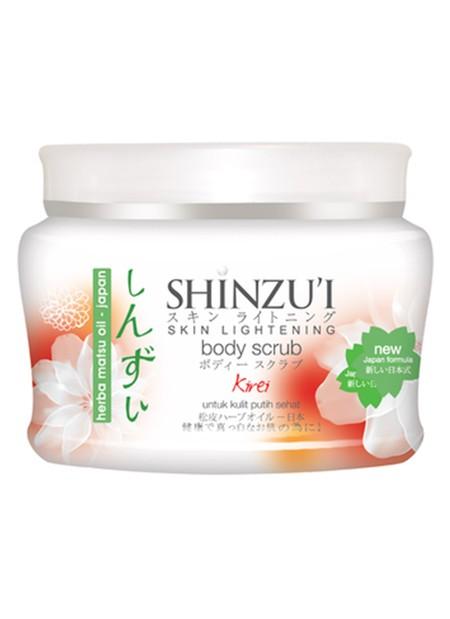 Shinzui Myori Body Scrub merupakan body scrub yang dapat membantu mengangkat sel kulit mati sehingga dapat melembabkan dan mencerahkan kulit yang kusam dengan Herba Matsu-Oil yang bisa membantu mengubah pigmen melamin penyebab warna kulit gelap, menjadi l