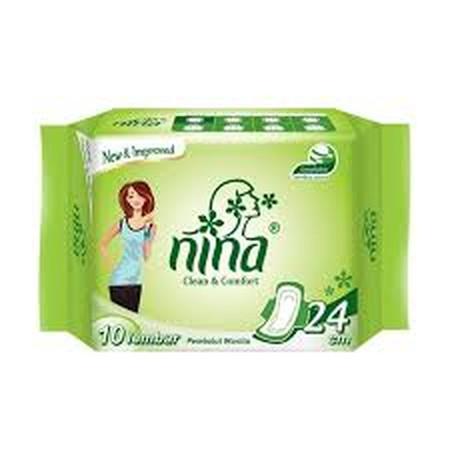 Bagus Nina Day Wing Pembalut Wanita [24 Cm/ 10 Sheet] Adalah Pembalut Wanita Yang Memiliki Daya Serap Extra, Sehingga Menjaga Anda Tetap Percaya Diri Dan Terasa Nyaman Saat Digunakan. Ukuran Panjang : 24 Cm Isi 10 Sheet.  Slim Wing, Merekat Ke Celana Sehi