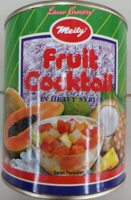 Meily Fruit Cocktail Kaleng 850gr merupakan campuran buah-buah dalam kaleng yang segar dan sehat bagi tubuh. Praktis untuk disajikan, sangat cocok untuk dijadikan hidangan penutup ketika sedang acara maupun untuk cemilan sehari-hari