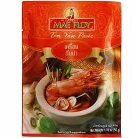 Mae Ploy Tom Yum Paste (50gr) (product of thailand)  Cara praktis, cepat, dan mudah untuk membuat sup Tomyum alathai. Cukup dengan tambahkan seafood yang berupa kerang, udang, ikan, cumi, jamur, sayuran, ayam dan lain-lain. Maka jadilah Sup Tomyum Seafood