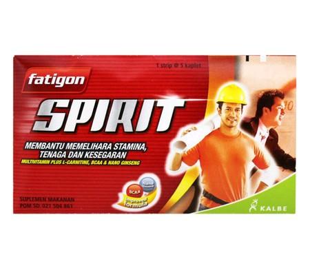 Fatigon Spirit, multivitamin yang mengandung Vitamin B Kompleks, BCAA, L Carnitine, dan Nano Ginseng Extract untuk memelihara stamina, tenaga, dan kesegaran. Obat dalam bentuk tablet yang sangat cocok untuk menjaga stamina tubuh.