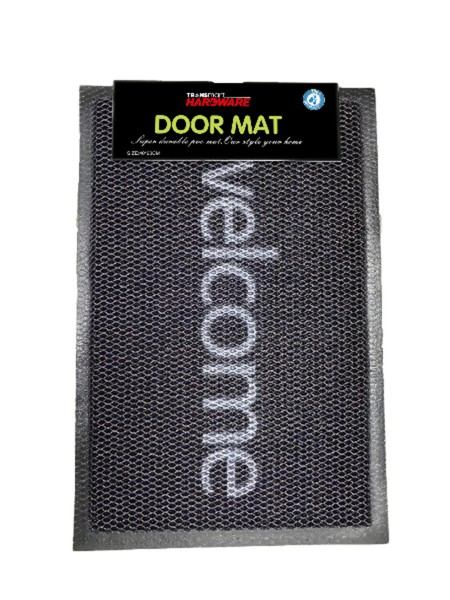 Doormat mesh Made from: PVC + PVC firm. Size 40x60 cm. Welcome pattern, available in grey black. Suitable for inside and outside use.  Easy to clean and does keep dirt and dust.