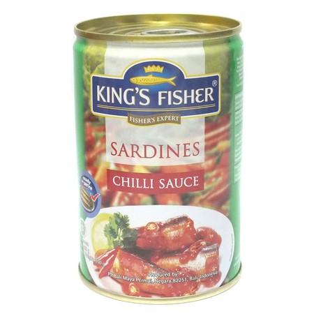 King's Fisher Makanan Kaleng Kings fisher Sarden Saus Tomat. Bercita rasa saus tomat lezat dan gurihnya dari bumbu alami, kualitas ikan sarden terbaik yang sudah melalui proses pematangan steam, goreng & retort, tanpa pengawet kimia, dan siap saji tanpa h