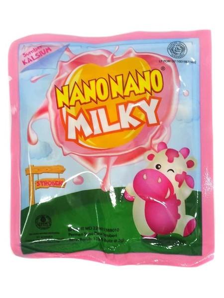 Permen susu rasa stroberi dengan kandungan Kalsium yang baik untuk anak-anak.
