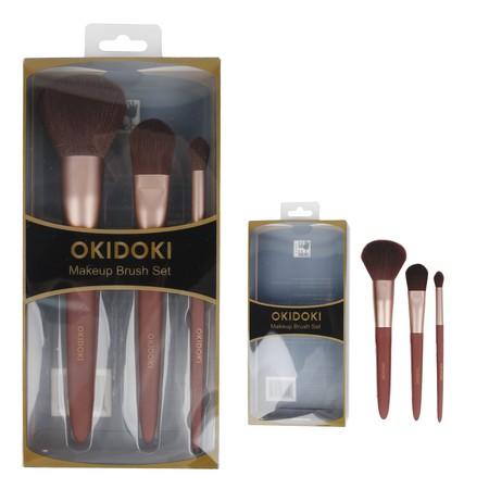 Make Up Brush yang terdiri dari  Powder foundation brush (19.5cm) Blender brush (17.5cm) Eyeliner brush (16cm)   Brand: OKIDOKI WARNA: Red Material: Canvas