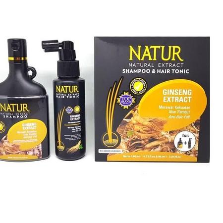 NATUR 2 In 1 Shampoo & Hair Tonic 140ml merupakan 1 set produk perawatan rambut berupa sampo dan tonik rambut yang bermanfaat untuk mengatasi masalah kerontokan parah di rambut Anda. Produk ini diformulasikan khusus dengan kandungan lidah buaya yang dapat