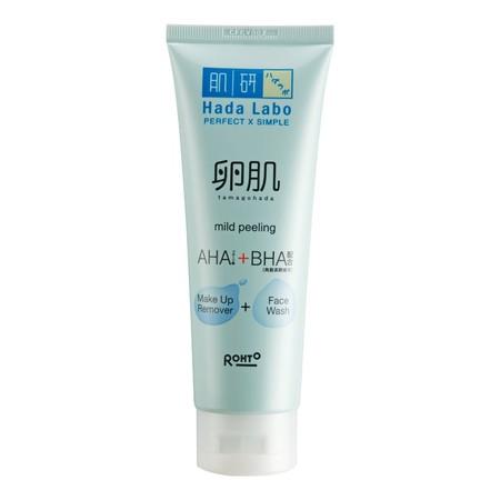Hada Labo Tamagohada Face Wash adalah sabun pembersih wajah dengan kombinasi AHA/BHA mengikis permukaan sel kulit mati dengan lembut, serta mengangkat kotoran dan minyak pada wajah yang dapat menyumbat pori-pori. Formulanya dapat memperbaiki kulit kusam d