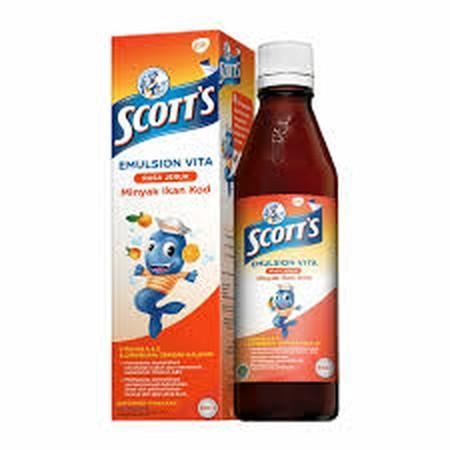 Scotts Emulsion dibuat dari minyak hati ikan kod dan mengandung asam lemak Omega-3 (DHA + EPA), Vitamin A, Vitamin D, dan Kalsium. DHA membantu otak anak Anda agar berfungsi dengan baik serta mendukung perkembangan otak dan penglihatan normal. Vitamin A d