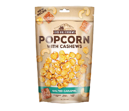 An artisan flavor of air popped corn rolled in natural salted caramel, cobined with the world's best fresh roasted cashew nuts. An irresistible delight for anyonr craving a snack for in between. 100% Natural. No Added Preservatives. Gluten Free
