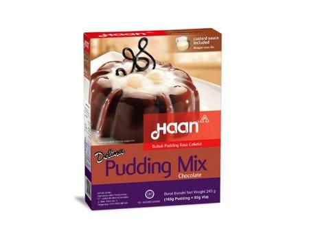 Bubuk pudding siap pakai yang sangat mudah dan praktis untuk membuat pudding yang disajikan lengkap dengan bubuk saus/vla. Cukup didihkan air 500 ml, lalu masukan bubuk pudding, aduk rata, tuangkan lalu dinginkan.