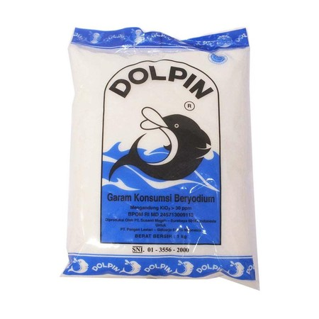 DOLPIN Garam Meja [1000 g] adalah garam meja beriodium yang cocok dijadikan penyedap masakan, serta segala masakan mapun kue-kue dan makanan ringan. Memiliki mutu dan kebersihan terjamin. Dapat dipakai langsung di dapur maupun di meja makan.
