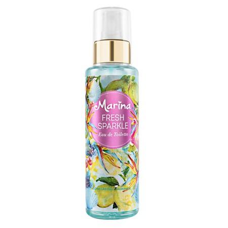 Marina Fresh Sparkle Eau de Toilette. Keharuman buah dan bunga mewah yang refreshing, tropical breeze, dan cheerful dengan kesegaran & kekuatan wangi yang bertahan lebih lama. Tidak meninggalkan noda di baju. Eau de Toilette dengan wangi mewah flower-frui