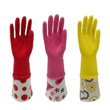 Latex cleaning gloves length 41cm Beautiful motif . Protect hands from the dangers of chemicals when washing dishes or cleaning the house.