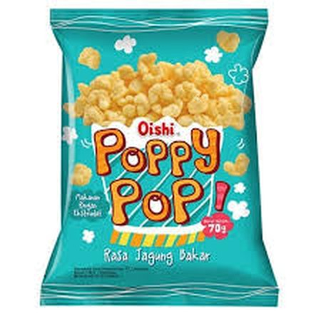 Oishi Poppy Pop Rasa Jagung Bakar 70gr merupakan produk cemilan cracker yang gurih dari OISHI. Rasa jagung bakar ini memiliki cita rasa jagung yang enak dan lezat membuatnya cocok untuk dijadikan cemilan. Selain itu, produk ini ideal dinikmati bersama kel