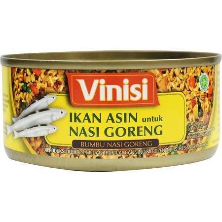 Vinisi Ikan Asin Untuk Nasi Goreng adalah menu siap saji yang terbuat dari bahan dan bumbu pilihan. Ikan Asin (25%)  Saus Tomat  Minyak Kacang Kedelai  Cabe Merah  Bawang Merah  Udang Kecepe  Garam  Gula (mengandung bahan pengawet sulfit).