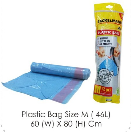 Fackelman Bin Bag size M Made of plastic With drawstring strap at the top Capacity 46 liters Dimensions of 60 x 80 cm Made of quality material Products with German standards