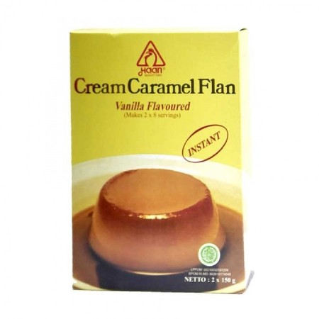 Mau bikin puding karamel anti gagal? Pakai saja Bubuk pudding caramel dari Haan Cream Caramel Flan. Siap pakai, sangat mudah dan praktis digunakan, tanpa melalui proses pemanggangan.