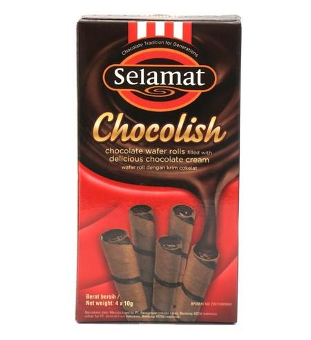Selamat Chocolish 4X10Gr Selamat Chocolish 4X10GrMerupakan Wafer Roll Yang Cocok Sebagai Makanan Ringan Di Saat Santai. Cocok Dihidangkan Bersama Kopi Dan Teh. Hadir Dengan Rasa Cokelat Yang Nikmat Dan Memiliki Tekstur Yang Renyah Di Setiap Gigitan. C